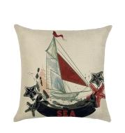 Sailing marine element linen pillowcase