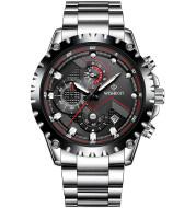 Men's quartz wrist watch with stainless steel belt