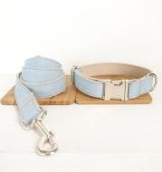 Blue pet dog ring denim leash