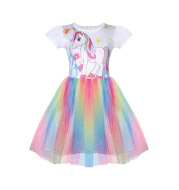 Colorful mesh yarn children dress skirt