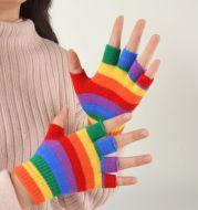 Adult Rainbow Striped Gloves Fingerless Half Finger Gloves