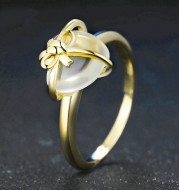 925 sterling silver lemon crystal love bow ring jewelry