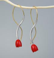 Coral Flower S925 Sterling Silver Women's Pendant Earrings