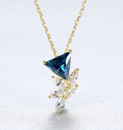 S925 Sterling Silver Floral Micro Pendant Female Necklace