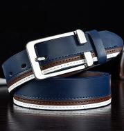Trendy men's leather white belt