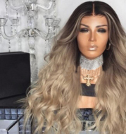 Wig dyeing mid-length long curly hair big wave