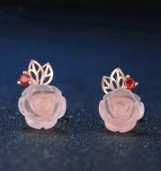 S925 Sterling Silver Rose flower Pink Crystal Stud Earrings