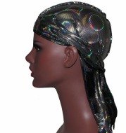 Colorful Sparkly Silky Durags Turban Bandanas Headwear