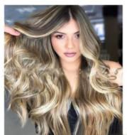 Grey-gold mid-length hair hood
