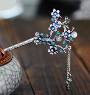 Ancient silver branch hairpin