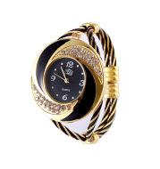 Diamond bracelet with braided watch