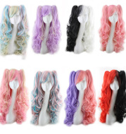 Colorful long curly wigs