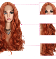 Long curly hair golden brown hood