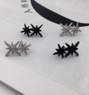 S925 Silver Pin Double M Word Octagon Star Stud Earrings