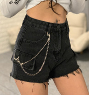 High-waisted jeans chain wide-leg raw shorts