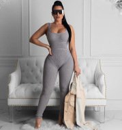 Open-back hip thread jumpsuit