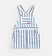Striped cotton denim suspender skirt