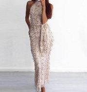 Long fringed sequin dress