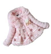 Girls' furry pearl pendant coat