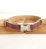 Red plaid pet dog ring