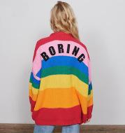Rainbow striped alphabet sweater