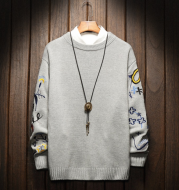 Printed embroidery crew neck sweater
