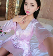 Lace embroidered suspender thin bathrobe
