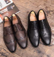 Business dress shoes with pointed toes