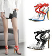 Colorblock pointed high heel sandals