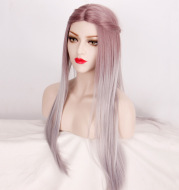 Women's wig mid-point gradient dyed long straight hair