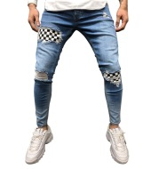 Men hip hop high-end quality tight slim ripped leg pants men