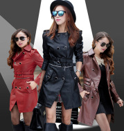 PU leather mid-length trench coat