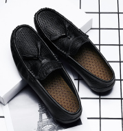 Leather hollowed-out beanie shoes