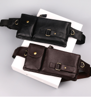 Leather Men's bag casual chest bag