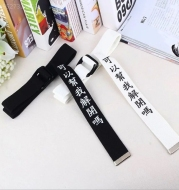 Funny text printed double buckle canvas belt