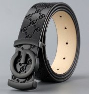 Cattle leather men's smooth buckle belt