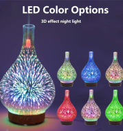 3D Glass Aroma Diffuser Colorful Lamp Humidifier Night Light