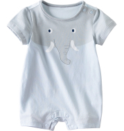 Light blue short sleeve baby jumpsuit