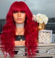 A big wavy red wig
