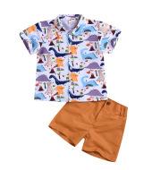 Boy's dinosaur print short sleeve suit