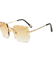 Fashion Rimless Square Oversized Sunglasses Women  Diamond Cutting Lens Gradient Sun Glasses