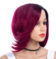 Gradient partial short curly hair wig wig
