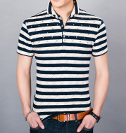 Middle-aged and young men's lapel half-sleeved shirt