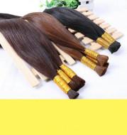 Braided crystal wire buckle long straight hair wig female