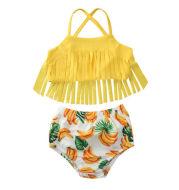 Banana print tassel swimsuit