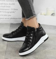 Black leather shoes Korean board shoes