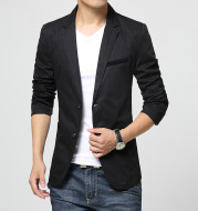 Casual solid color wash cotton small suit