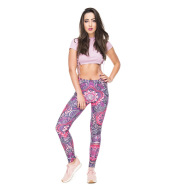 Printed high-rise sport cropped trousers