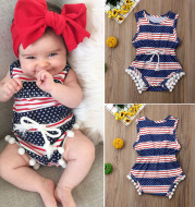 American Flag Independence Day Baby Romper