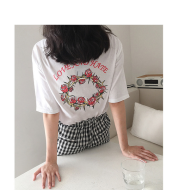 Back letter rose print T-shirt